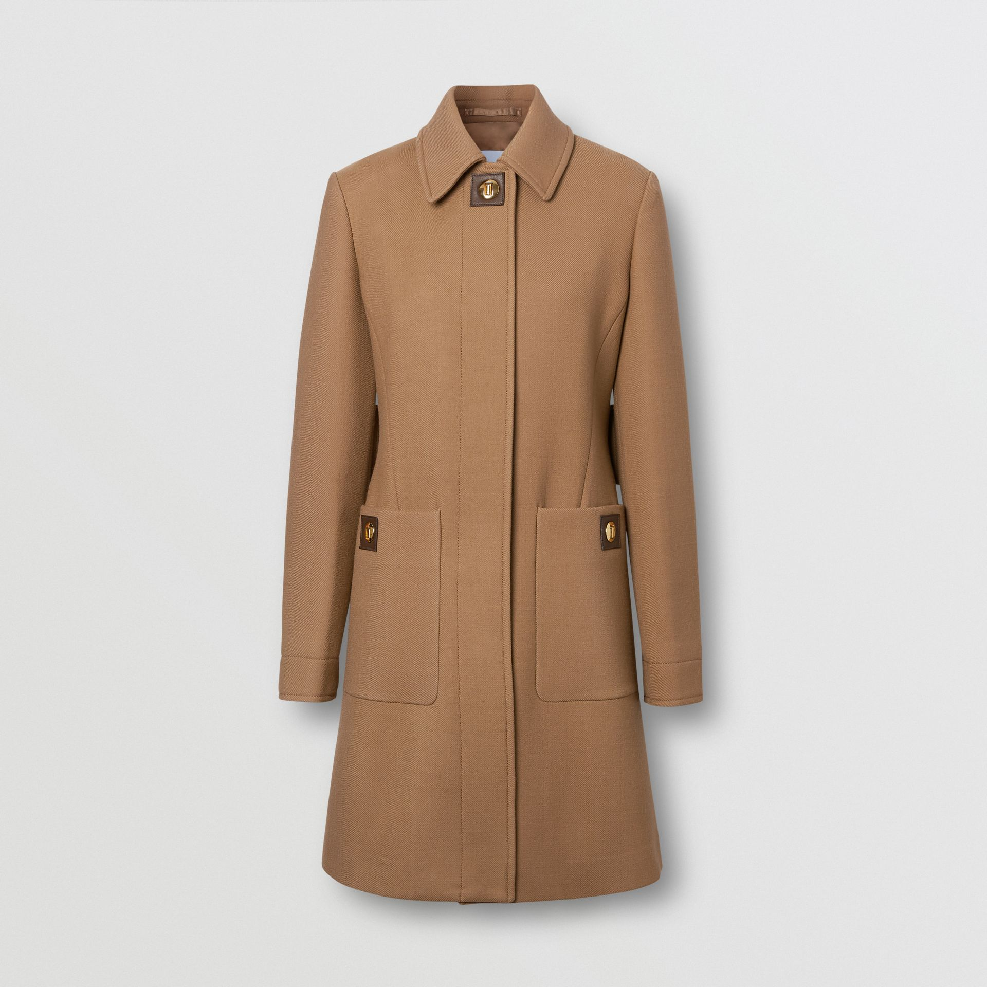 Double-faced Wool Tailored Coat in Fawn - Women | Burberry United Kingdom - gallery image 3