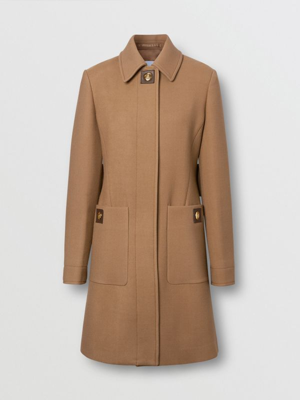 Double-faced Wool Tailored Coat in Fawn - Women | Burberry United Kingdom - cell image 3