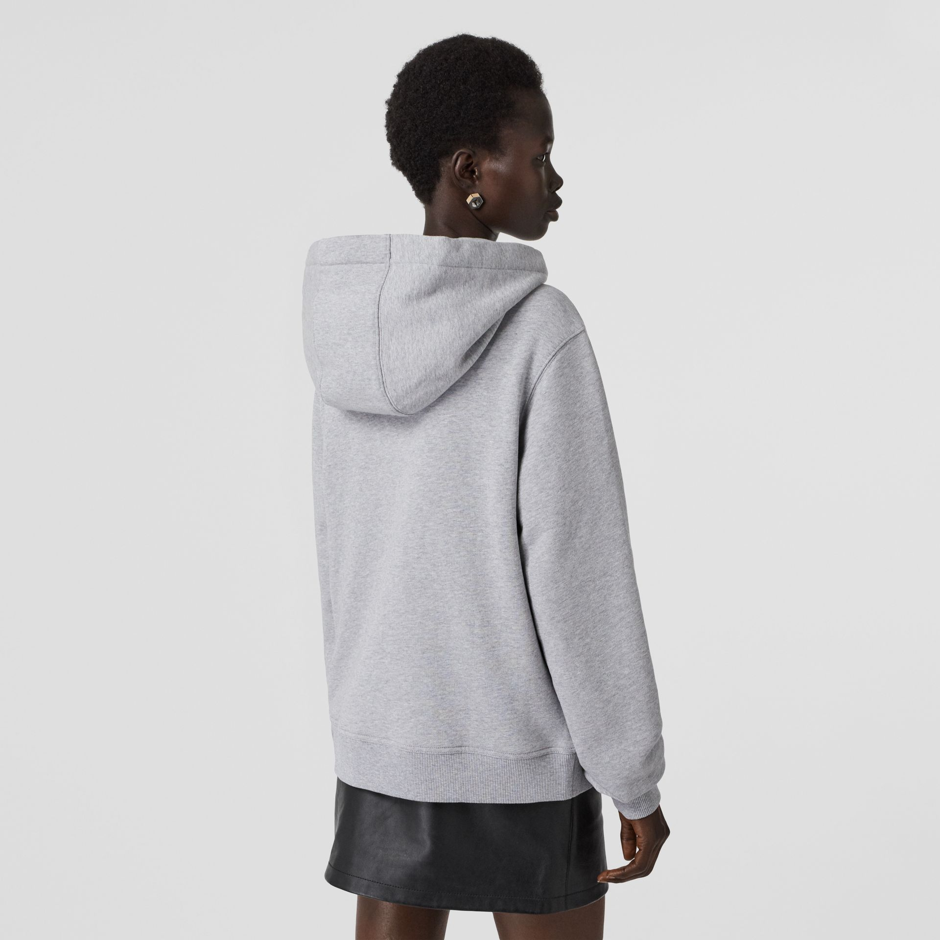 Monogram Motif Cotton Oversized Hooded Top in Pale Grey Melange - Women | Burberry - gallery image 2