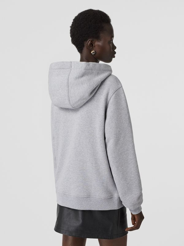 Monogram Motif Cotton Oversized Hooded Top in Pale Grey Melange - Women | Burberry - cell image 2