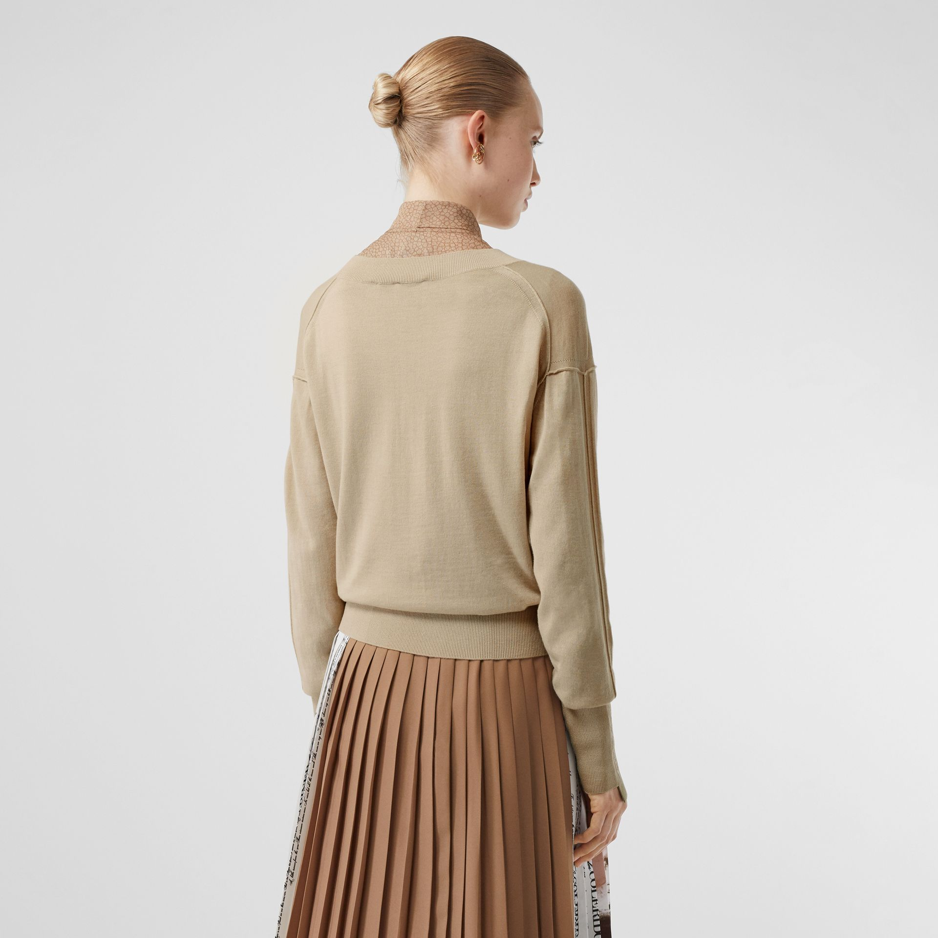 Logo Detail Merino Wool Silk Sweater in Pale Ochre - Women | Burberry - gallery image 2