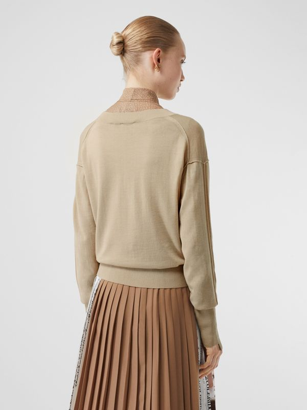 Logo Detail Merino Wool Silk Sweater in Pale Ochre - Women | Burberry - cell image 2