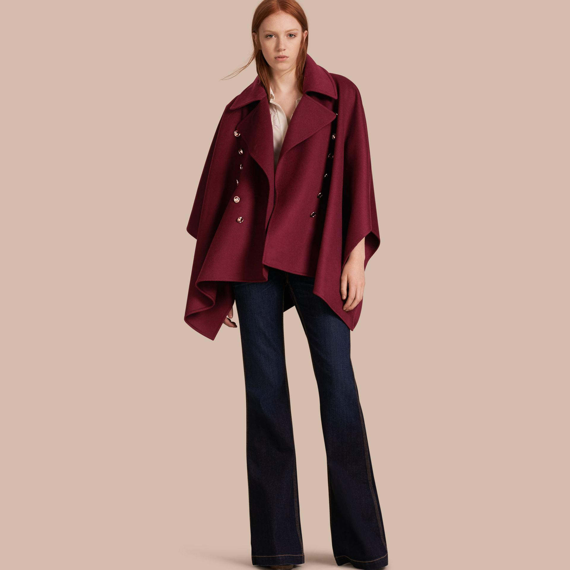 Burgundy Military Button Wool Cashmere Blend Cape Burgundy - gallery image 1