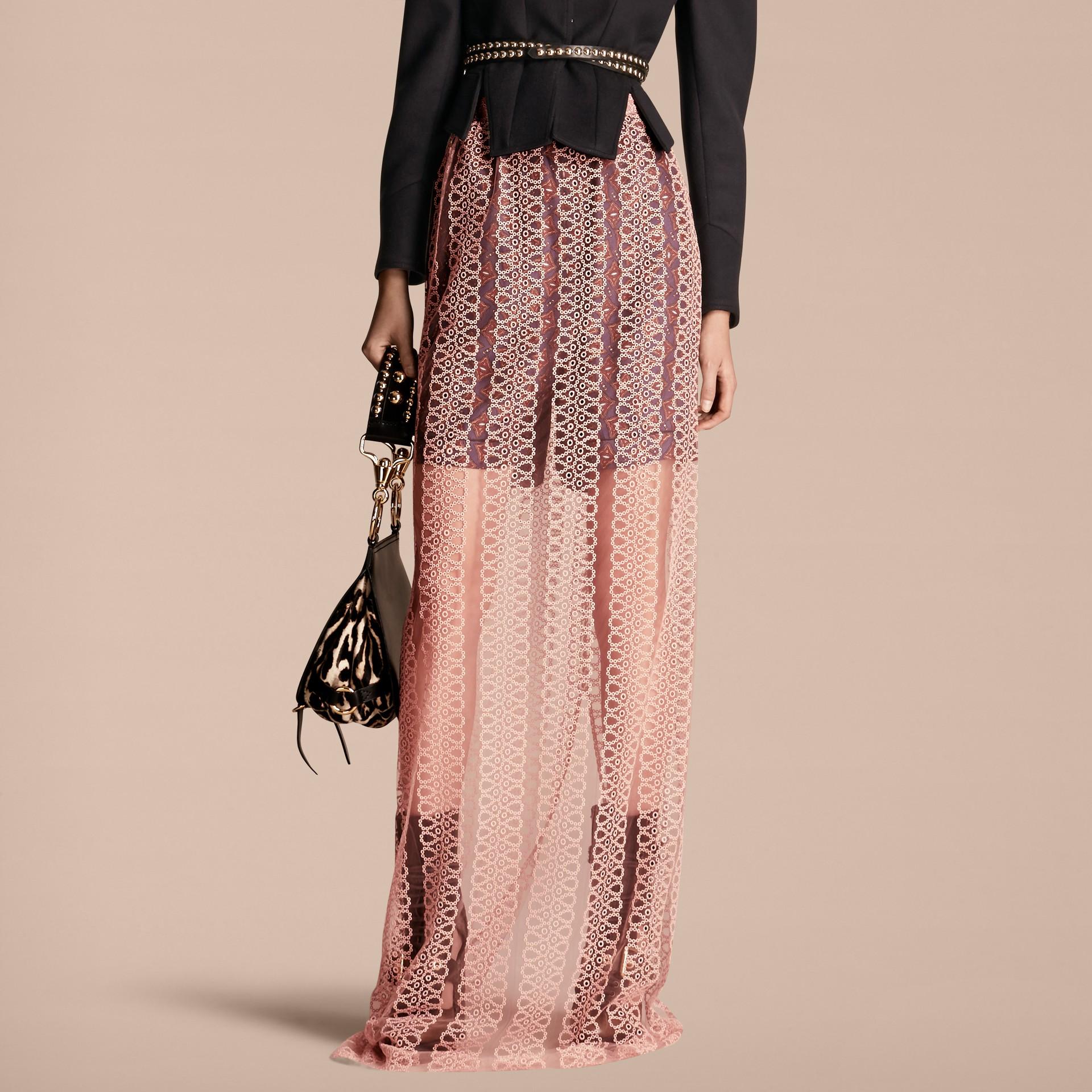 Rosa claro Saia estilo coluna de tule com faixas de bordado - galeria de imagens 1