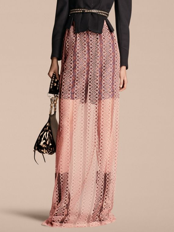 Braided Stripe Tulle Column Skirt
