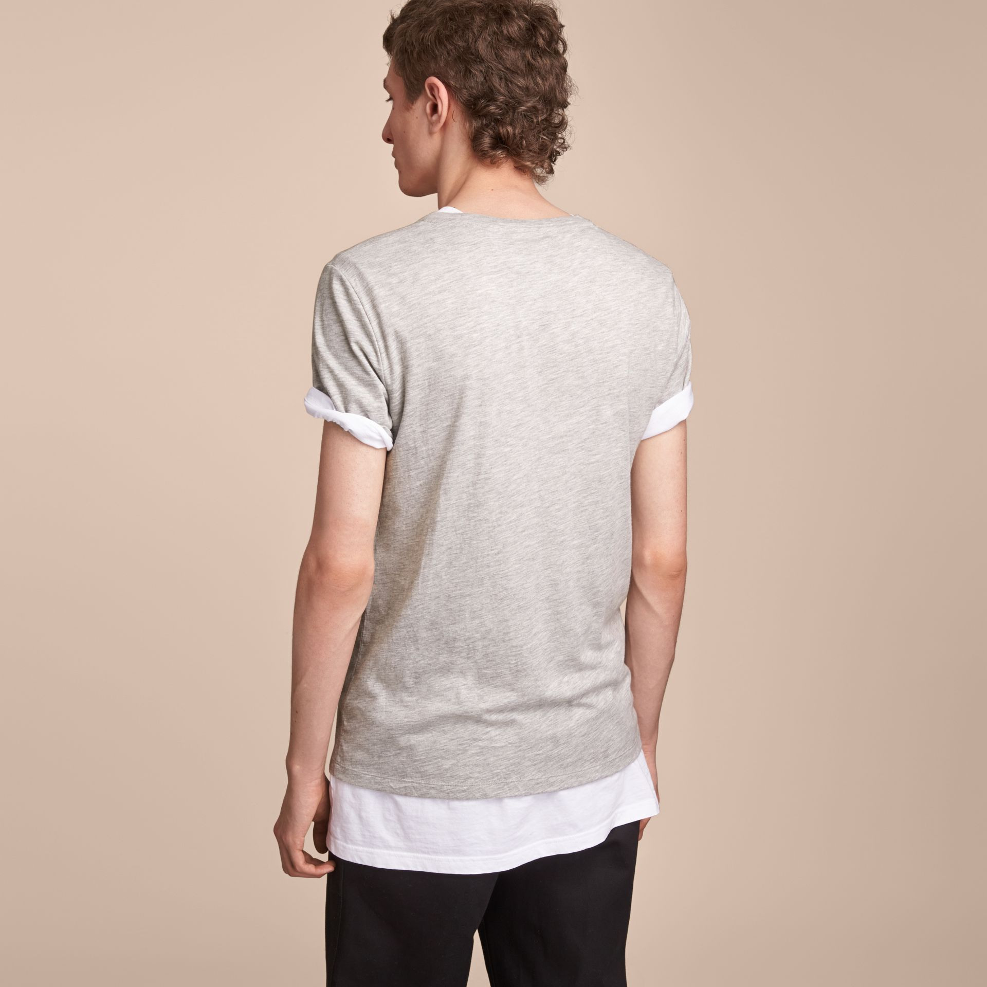 Contrast Motif Cotton Blend T-shirt Pale Grey Melange - gallery image 3
