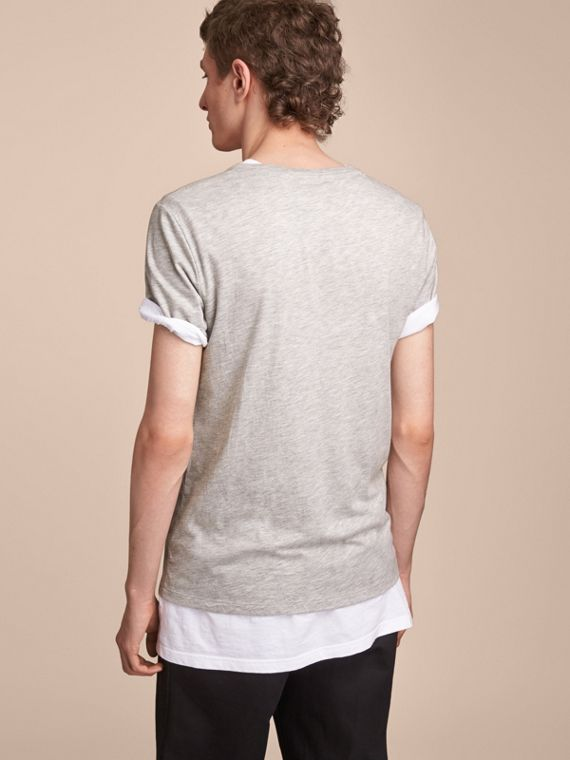 Contrast Motif Cotton Blend T-shirt Pale Grey Melange - cell image 2