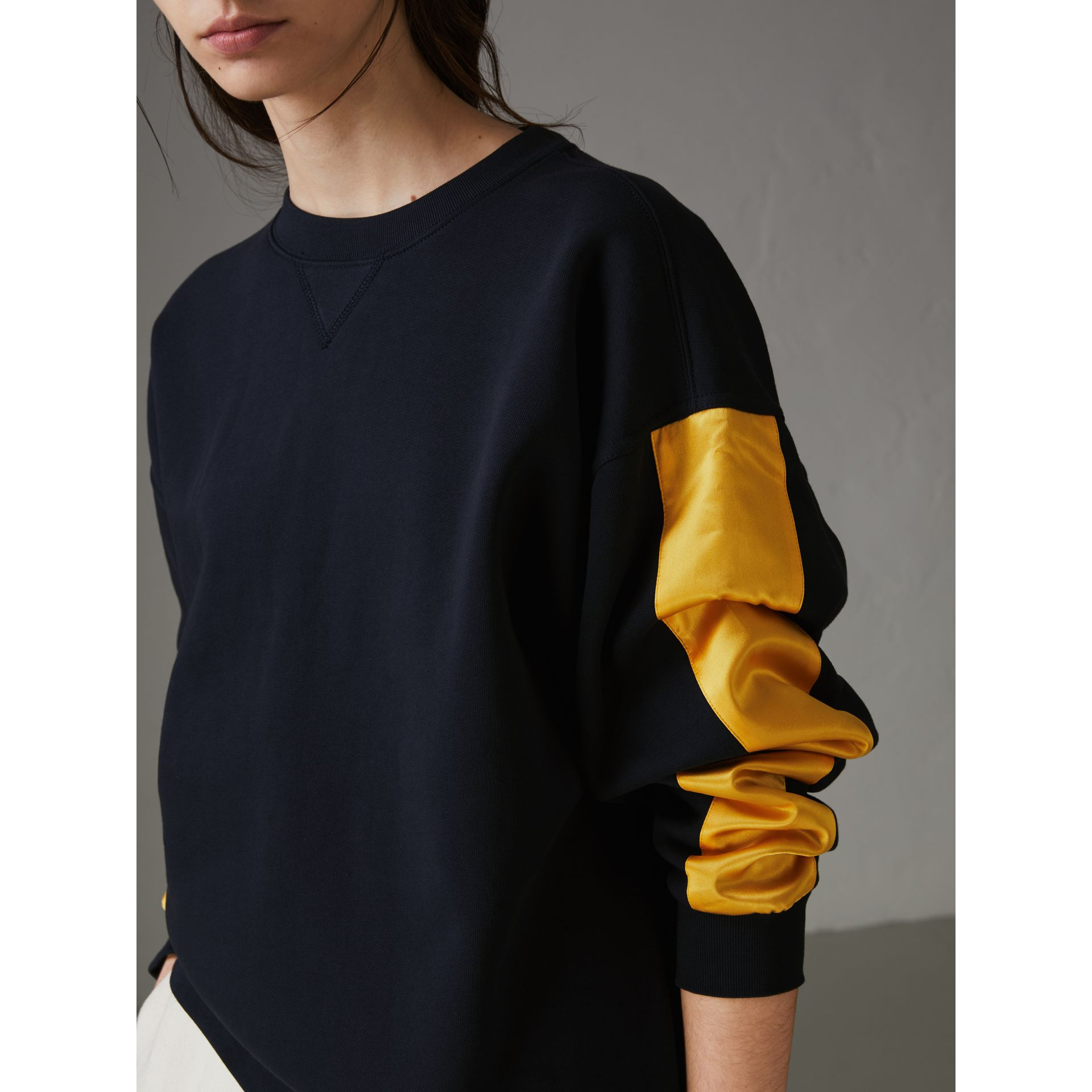 Satin Stripe Cotton Blend Sweatshirt in Navy - Women | Burberry - gallery image 1