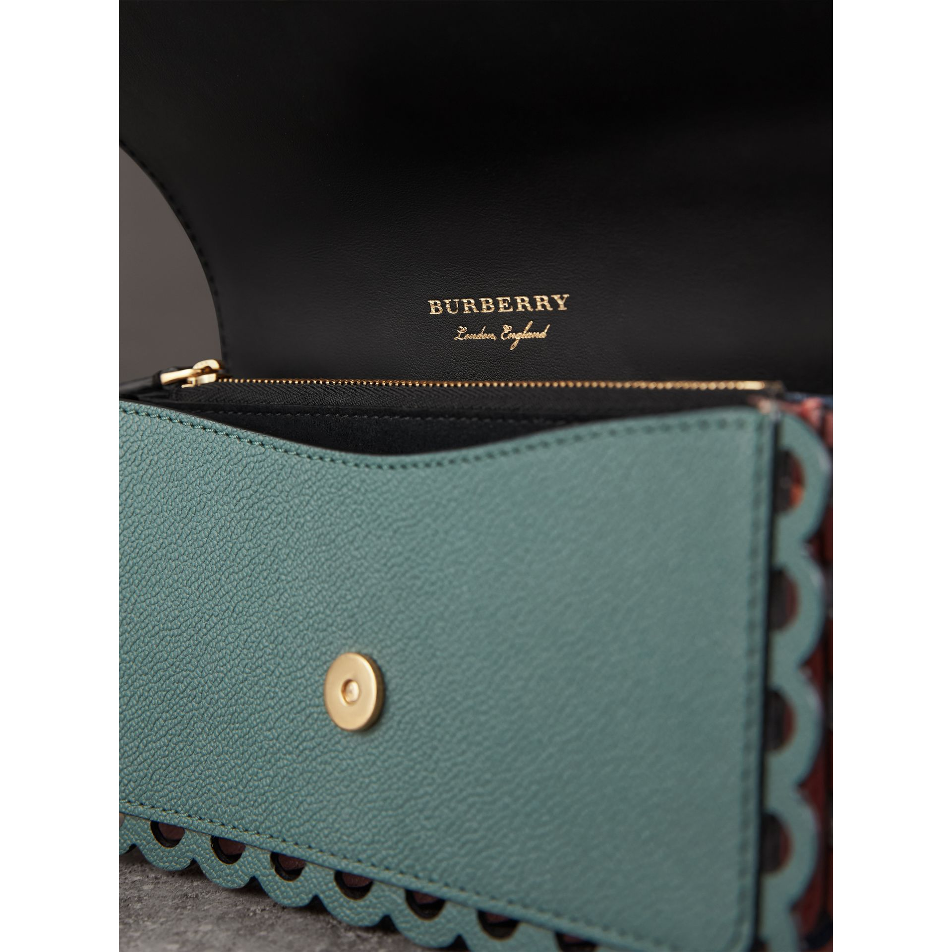 The Small Buckle Bag in Laser-cut Leather and Snakeskin in Celadon Blue - Women | Burberry - gallery image 6