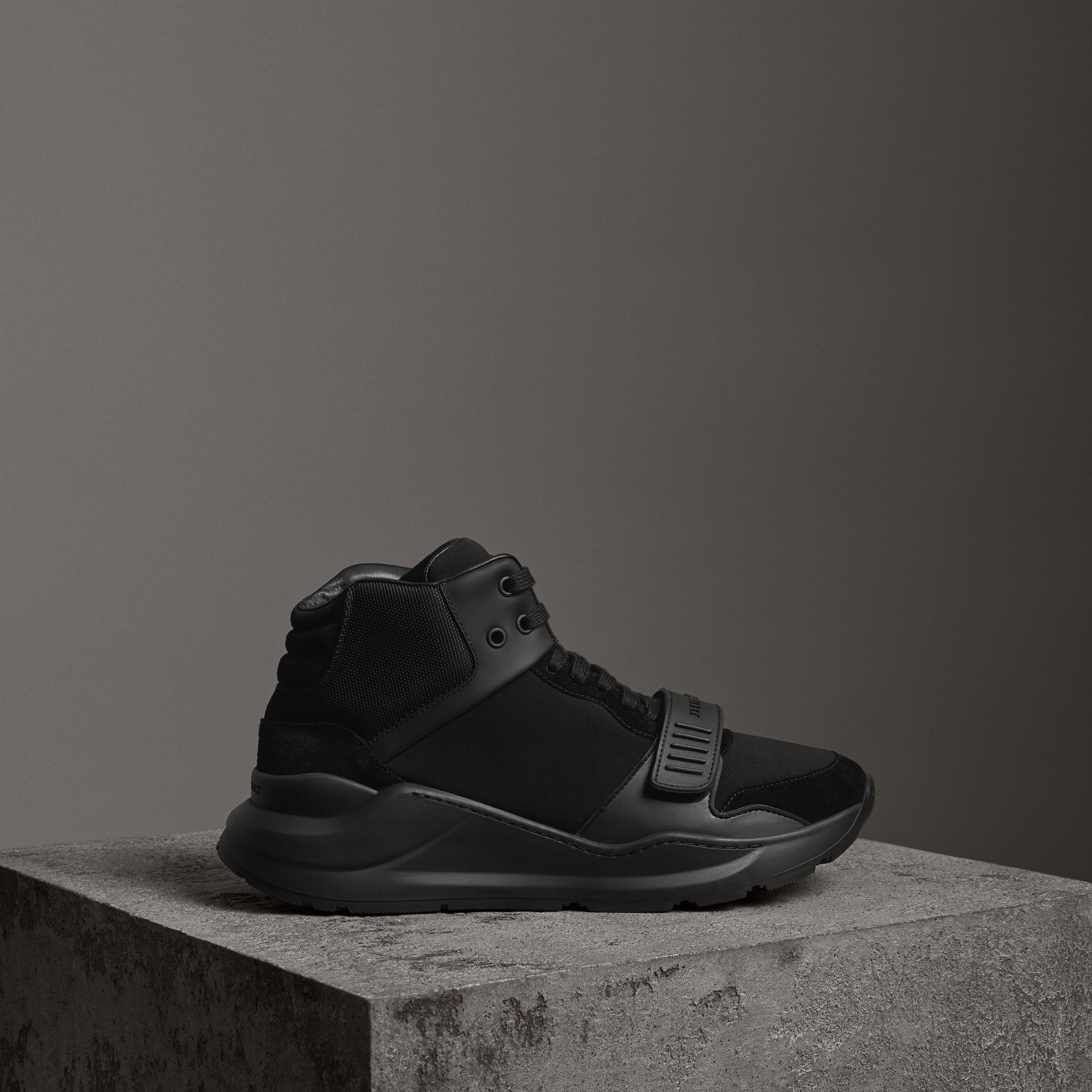 Suede Trim Neoprene High-top Sneakers in Black | Burberry - gallery image 0