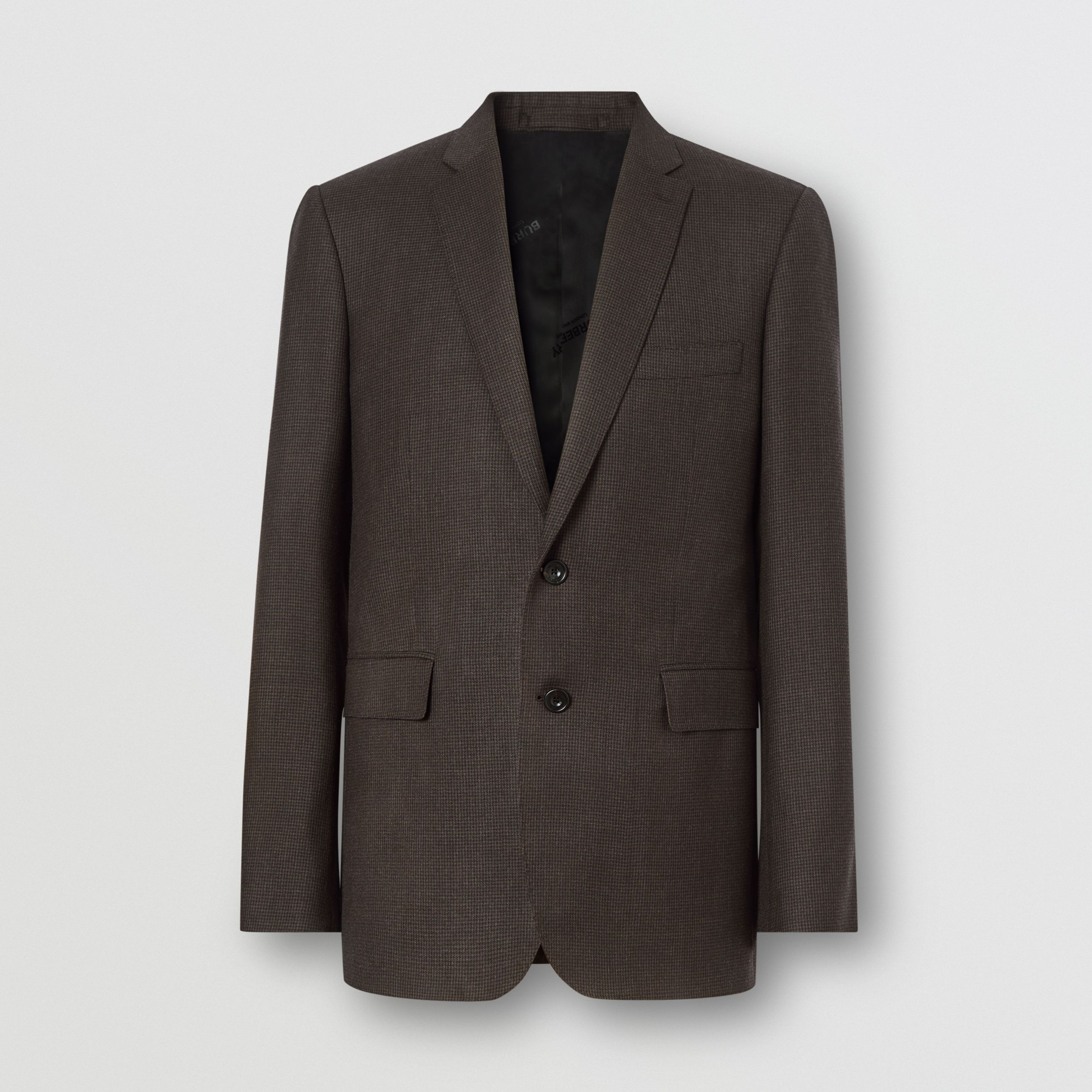 Slim Fit Puppytooth Check Wool Suit in Dark Brown - Men | Burberry - 4