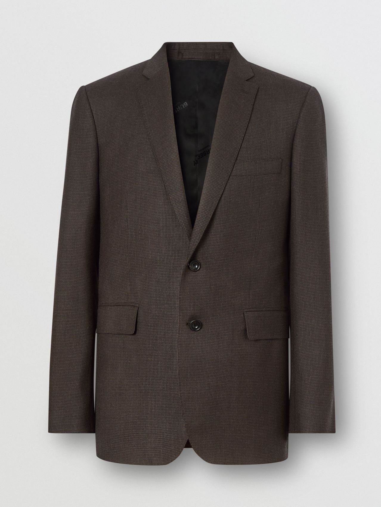 Slim Fit Puppytooth Check Wool Suit (Dark Brown)
