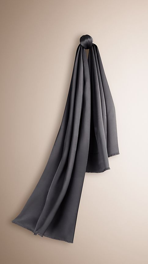 Charcoal Reversible Silk Scarf - Image 1