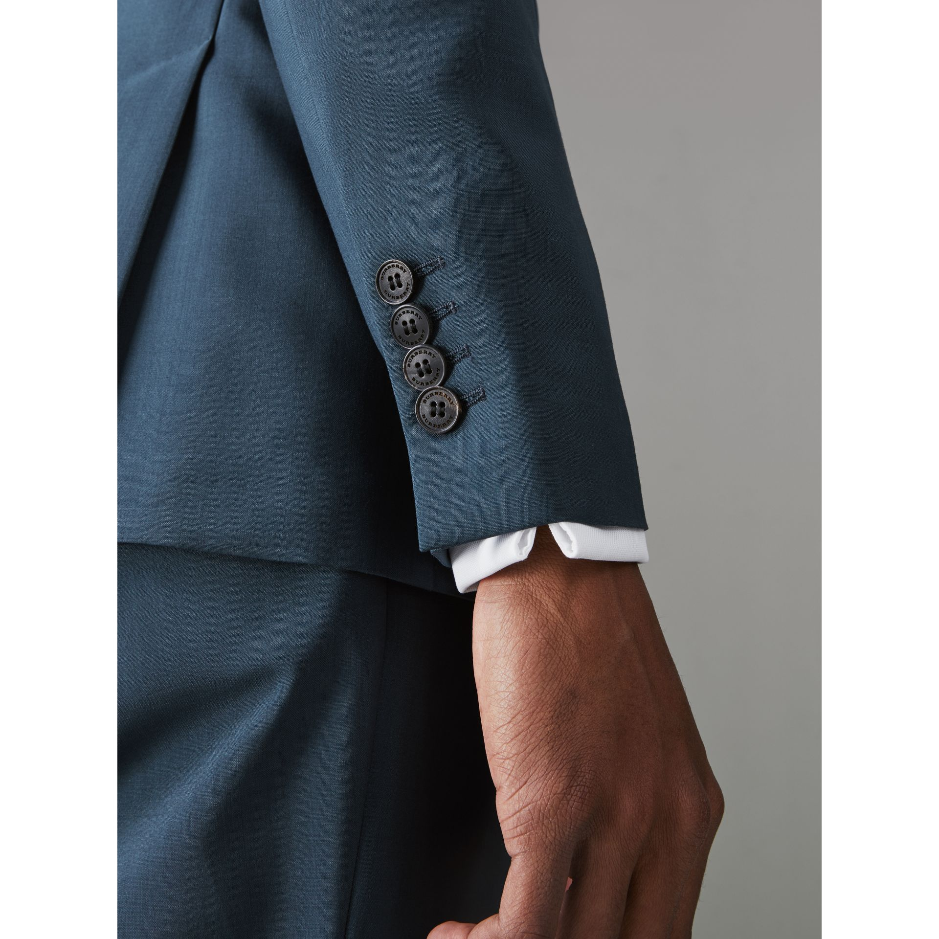 Soho Fit Wool Mohair Suit in Dark Pewter Blue - Men | Burberry - gallery image 1