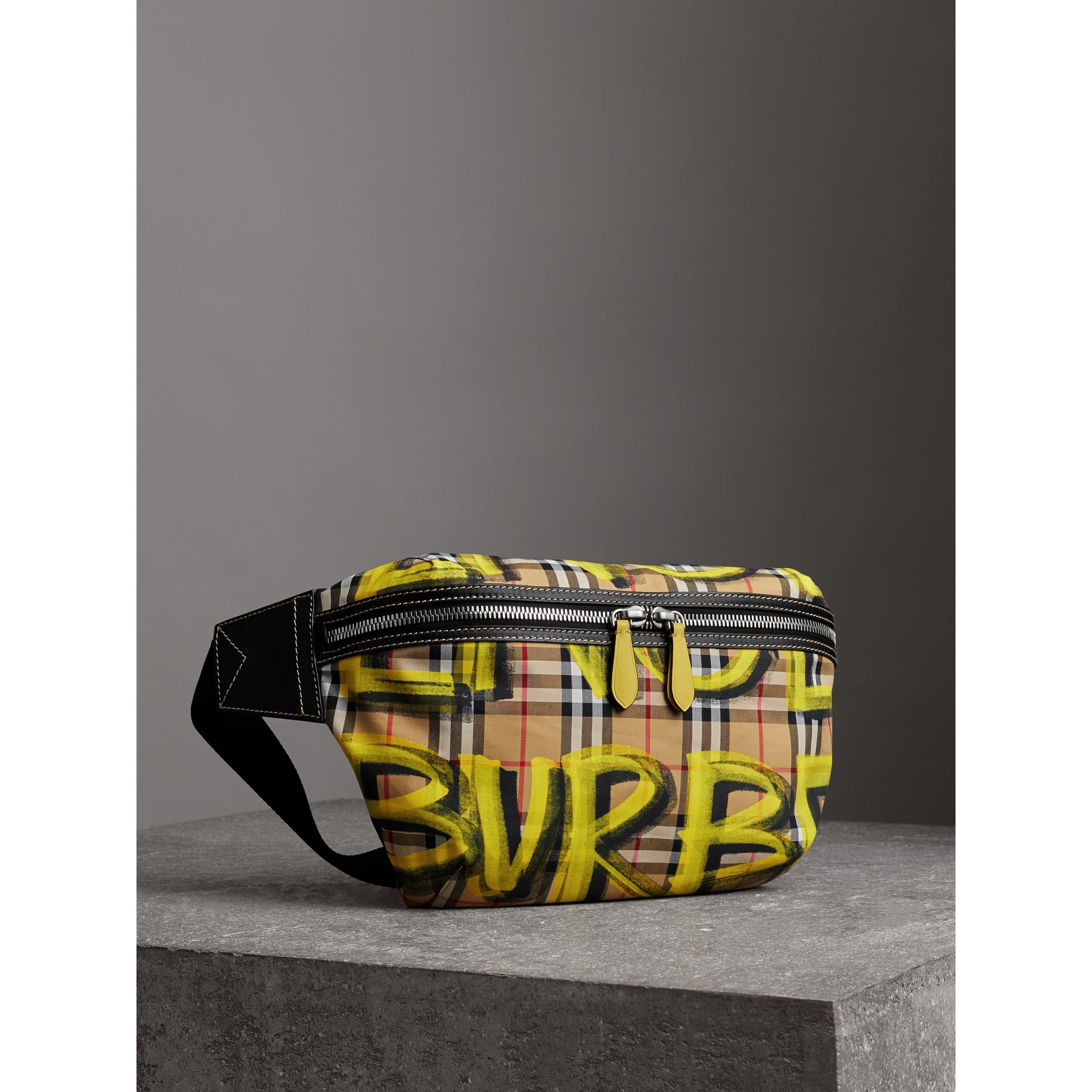 Large Graffiti Print Vintage Check and Leather Bum Bag in Bright Yellow/antique Yellow - Men | Burberry United States - gallery image 6