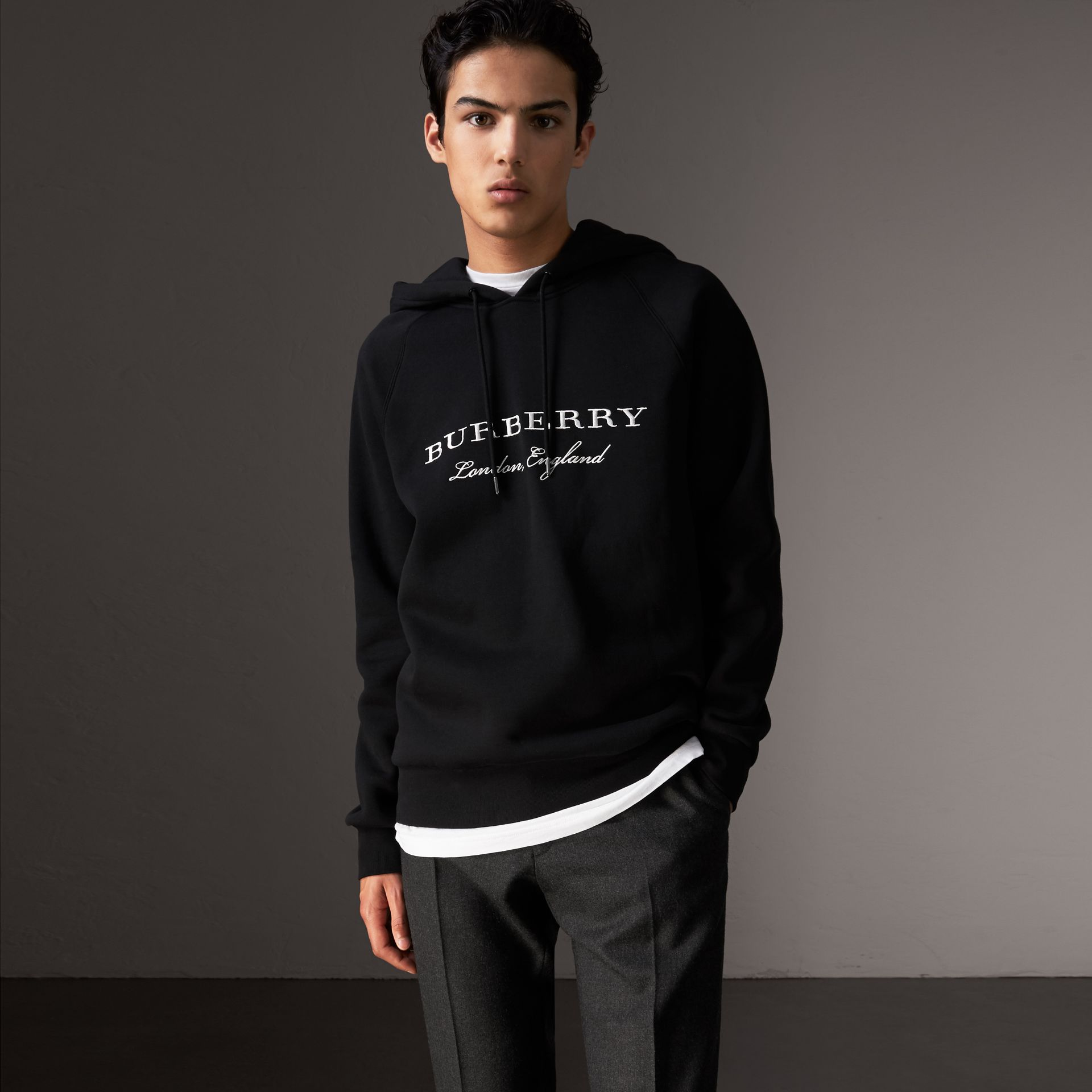 Embroidered Hooded Sweatshirt in Black - Men | Burberry United States - gallery image 0