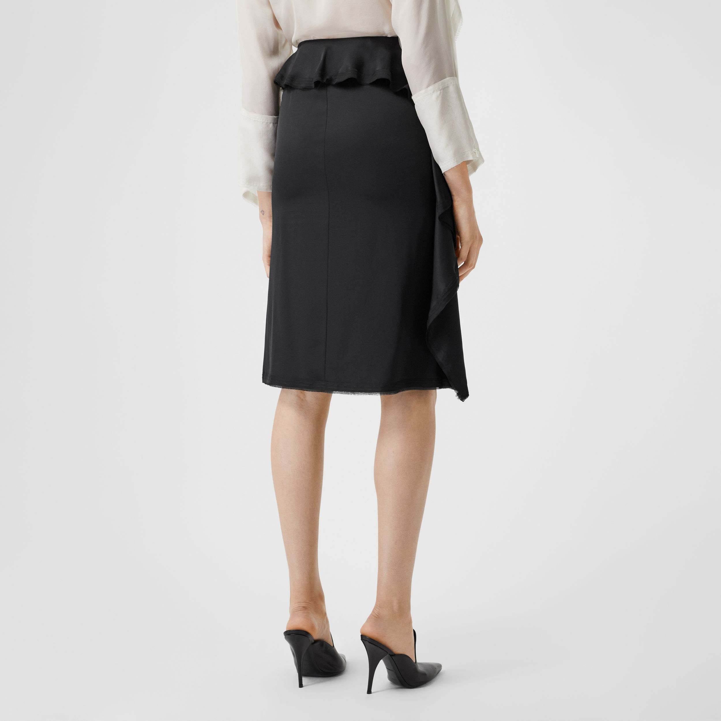 Ruffle Detail Silk Satin Pencil Skirt in Black - Women | Burberry - 3