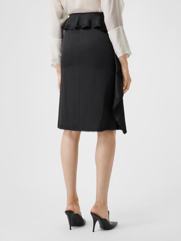Ruffle Detail Silk Satin Pencil Skirt in Black - Women | Burberry United Kingdom - cell image 2