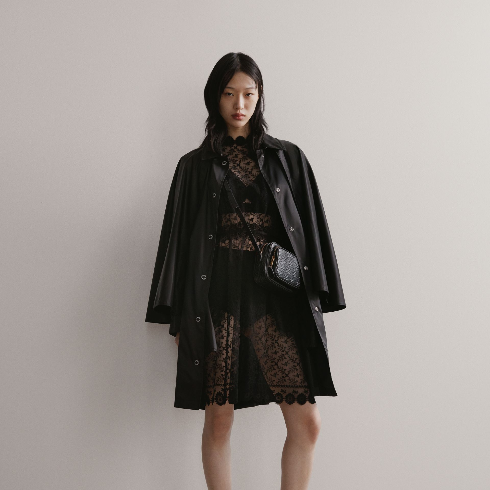 Floral Embroidered Tulle Dress in Black - Women | Burberry - gallery image 1