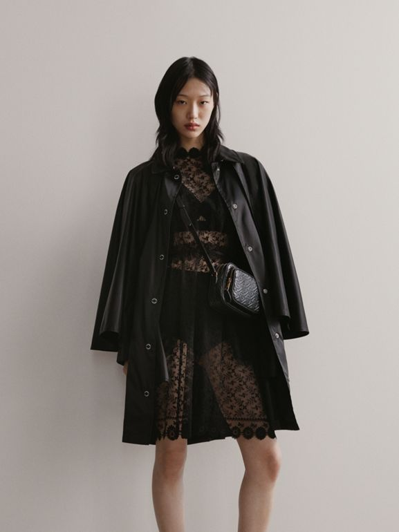 Floral Embroidered Tulle Dress in Black - Women | Burberry - cell image 1