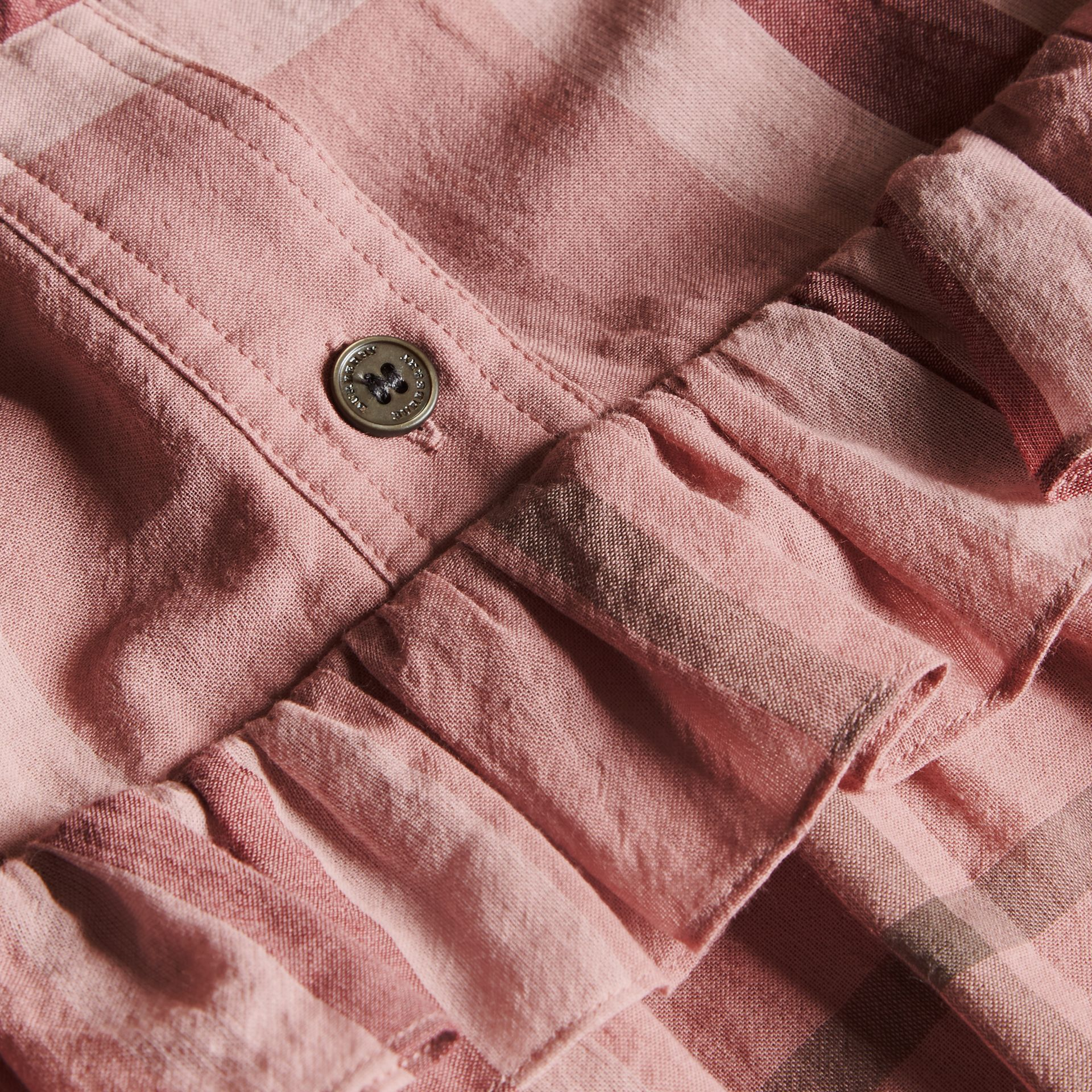 Ruffle Detail Cotton Check Shirt Dress in Antique Pink - gallery image 2