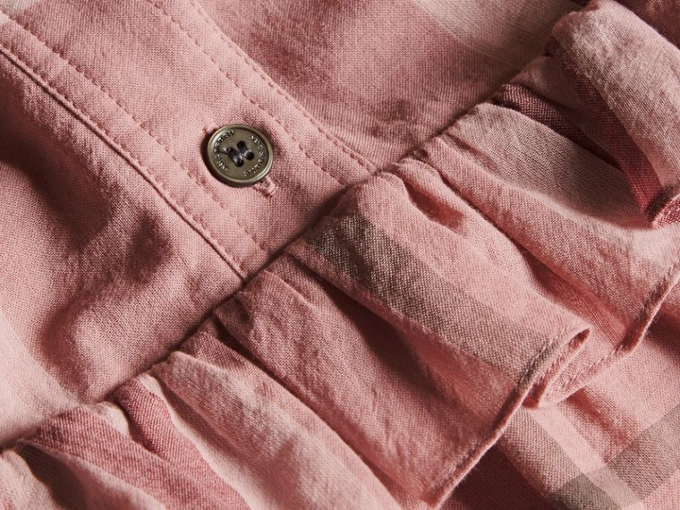 Ruffle Detail Cotton Check Shirt Dress in Antique Pink - cell image 1