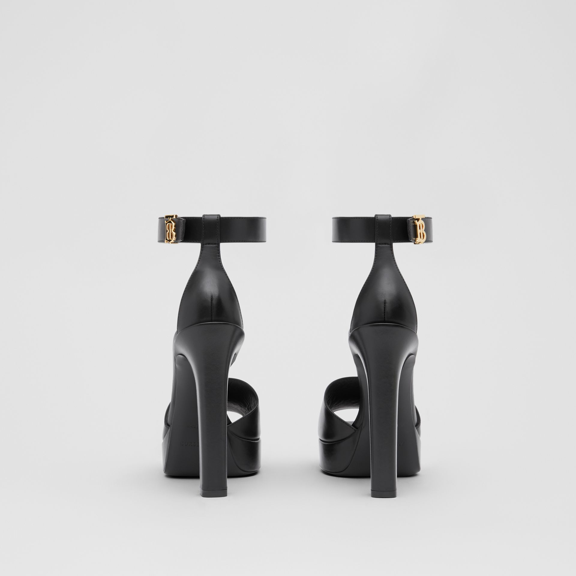 Monogram Motif Leather Peep-toe Sandals in Black - Women | Burberry - gallery image 3