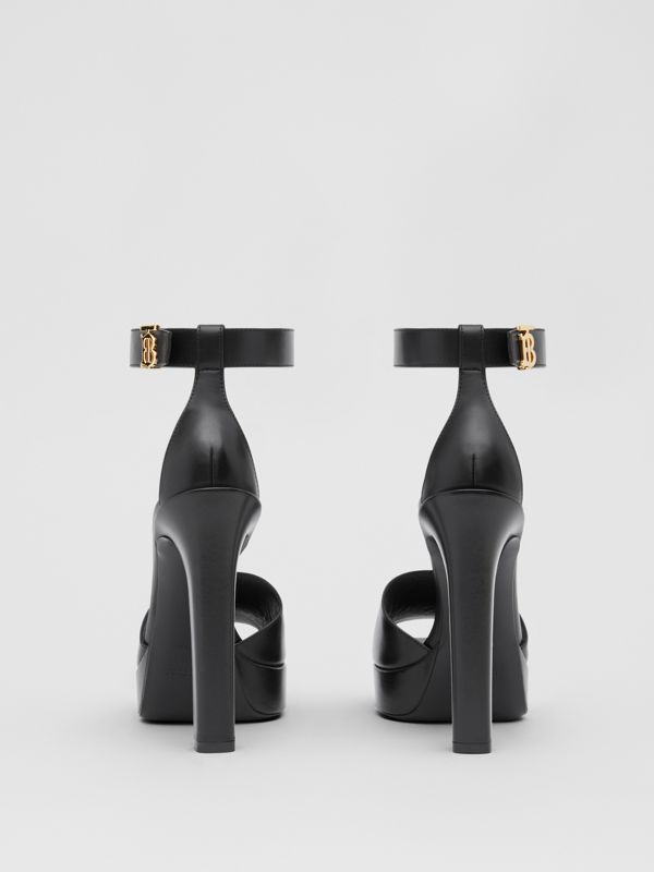 Monogram Motif Leather Peep-toe Sandals in Black - Women | Burberry - cell image 3