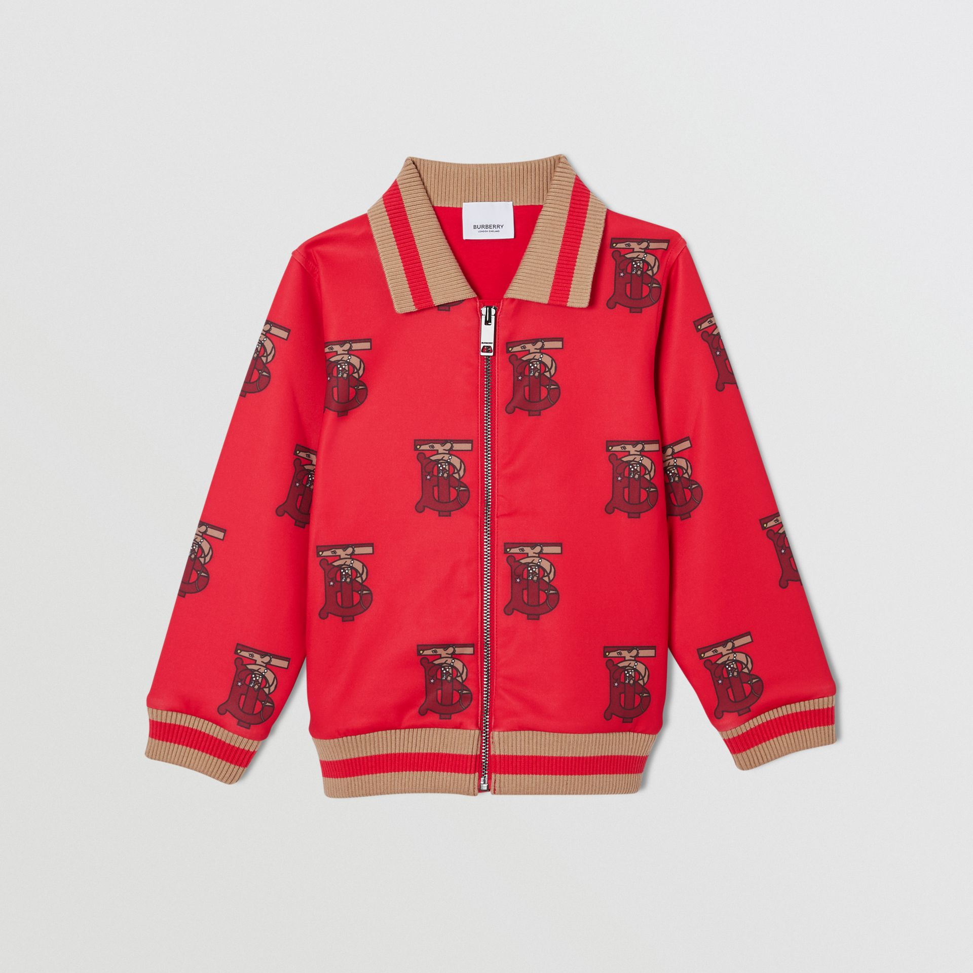 Monogram Motif Neoprene Track Top in Bright Red | Burberry - gallery image 0