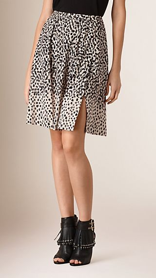 Graphic Print Split Detail Skirt