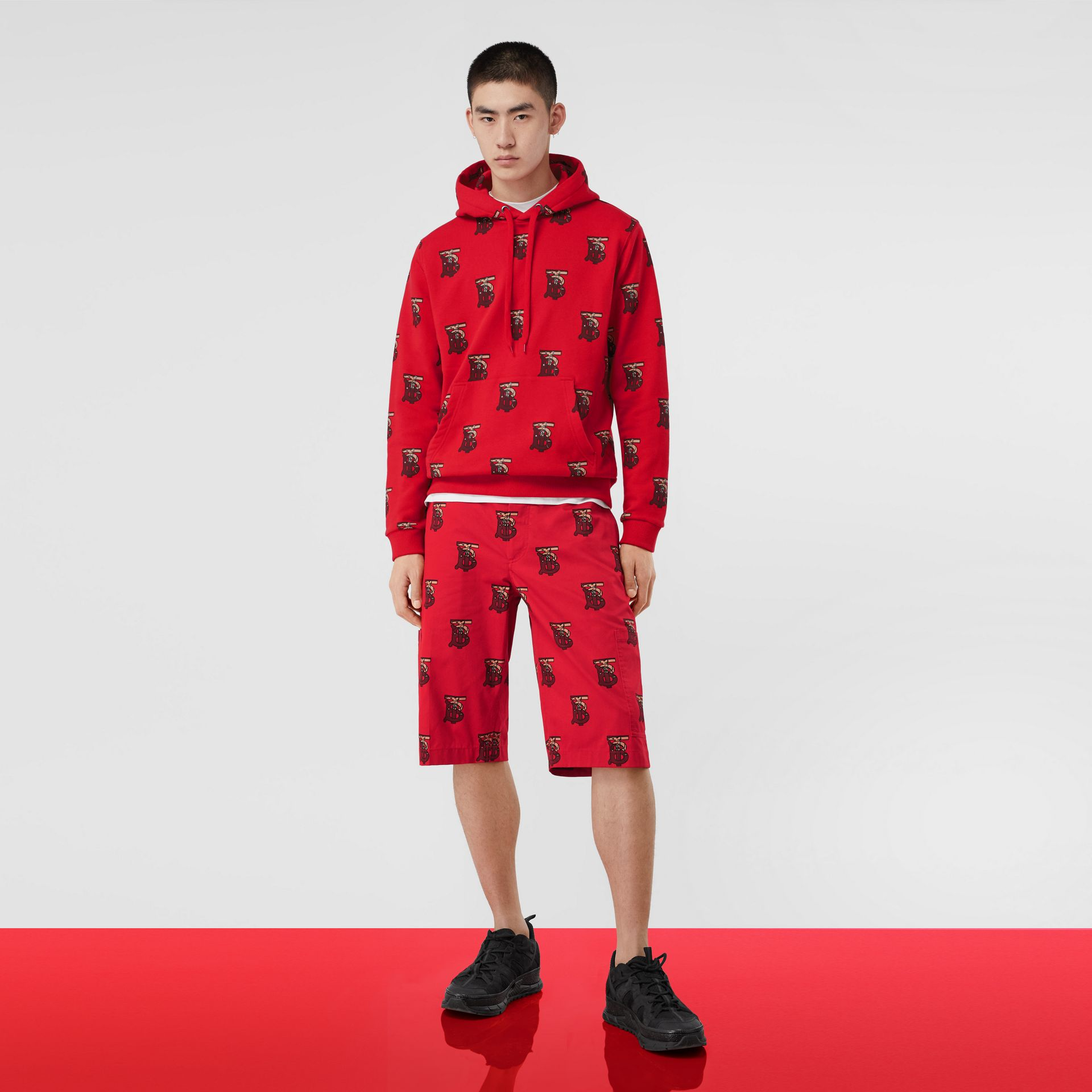 Monogram Motif Cotton Oversized Hoodie in Bright Red - Men | Burberry - gallery image 5