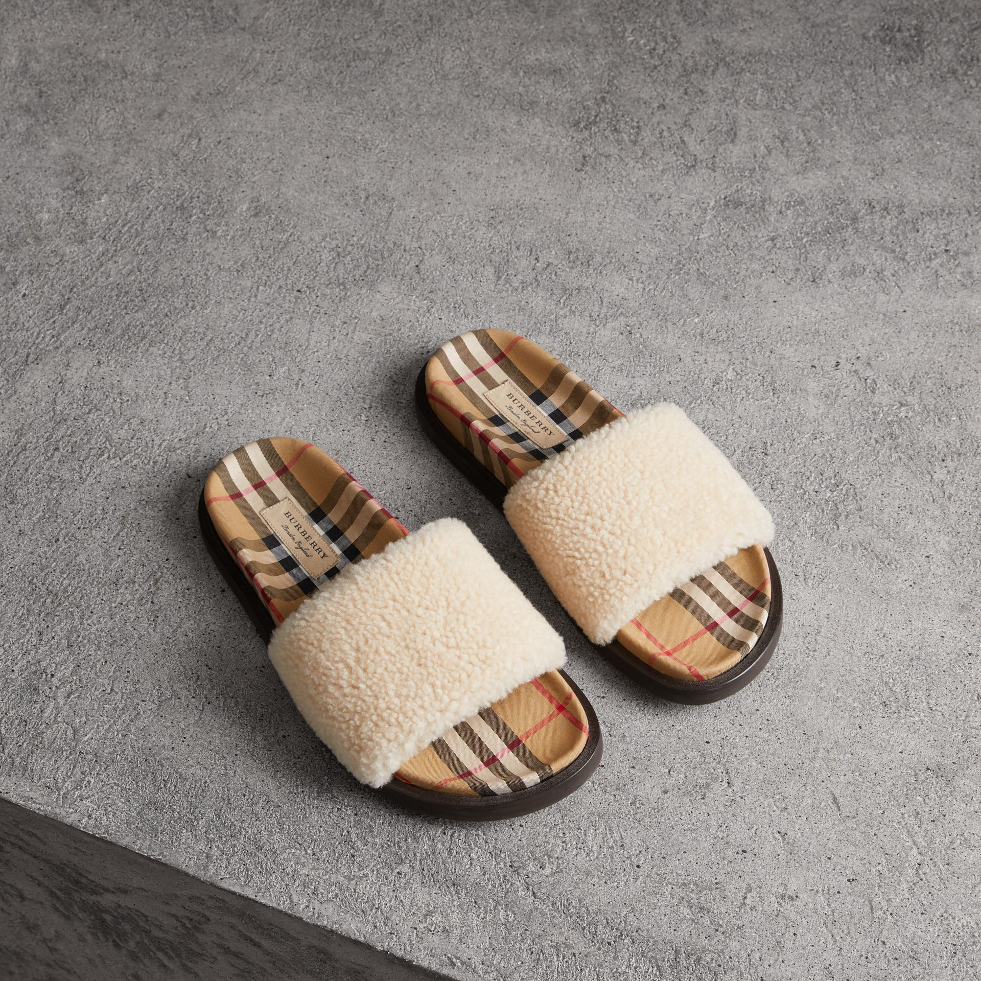 Shearling and Vintage Check Slides in Natural - Women | Burberry Australia - gallery image 0