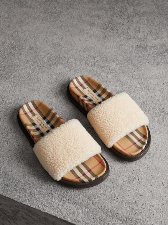 Shearling and Vintage Check Slides in Natural