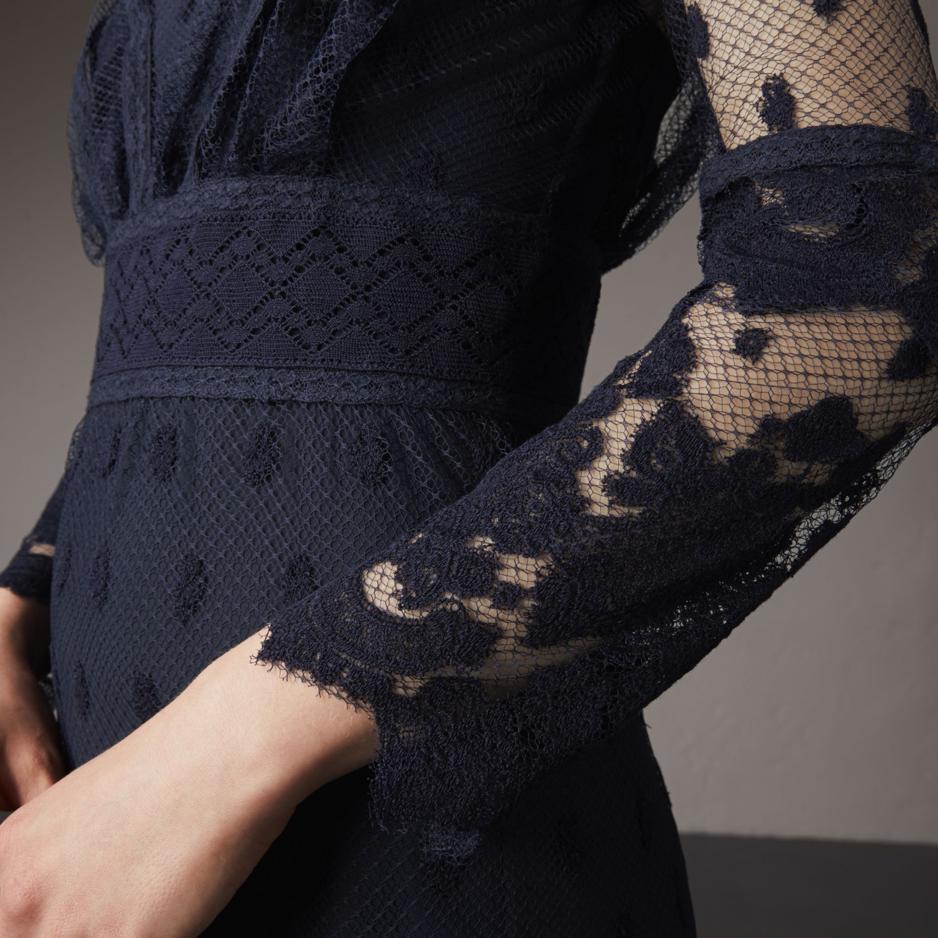 Embroidered Tulle Panel Dress in Navy - Women | Burberry Singapore - gallery image 5