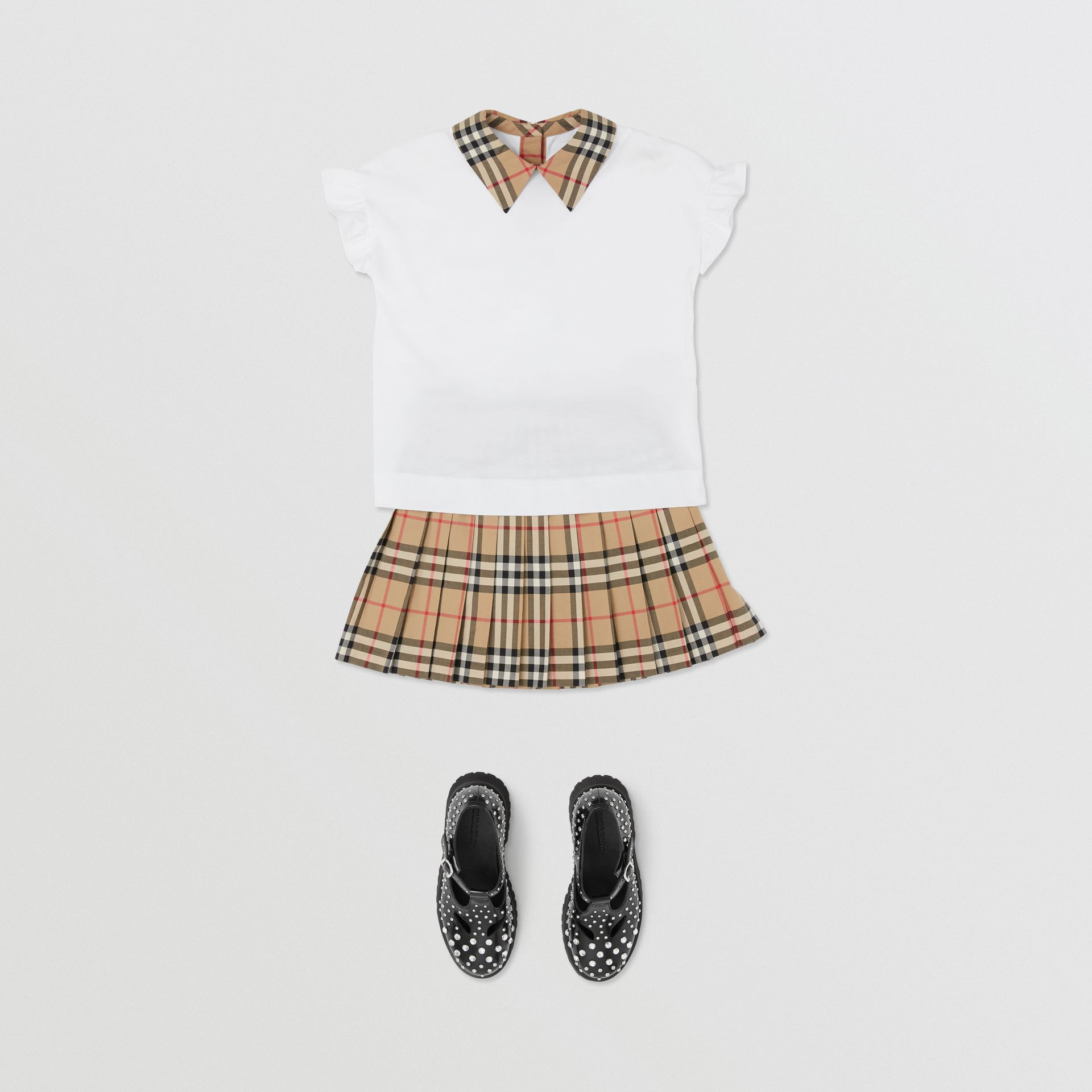 Vintage Check Detail Ruffled Sleeve Cotton T-shirt in White | Burberry - gallery image 2