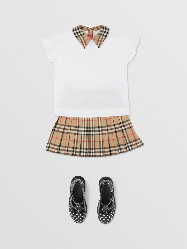 Vintage Check Detail Ruffled Sleeve Cotton T-shirt in White | Burberry - cell image 2