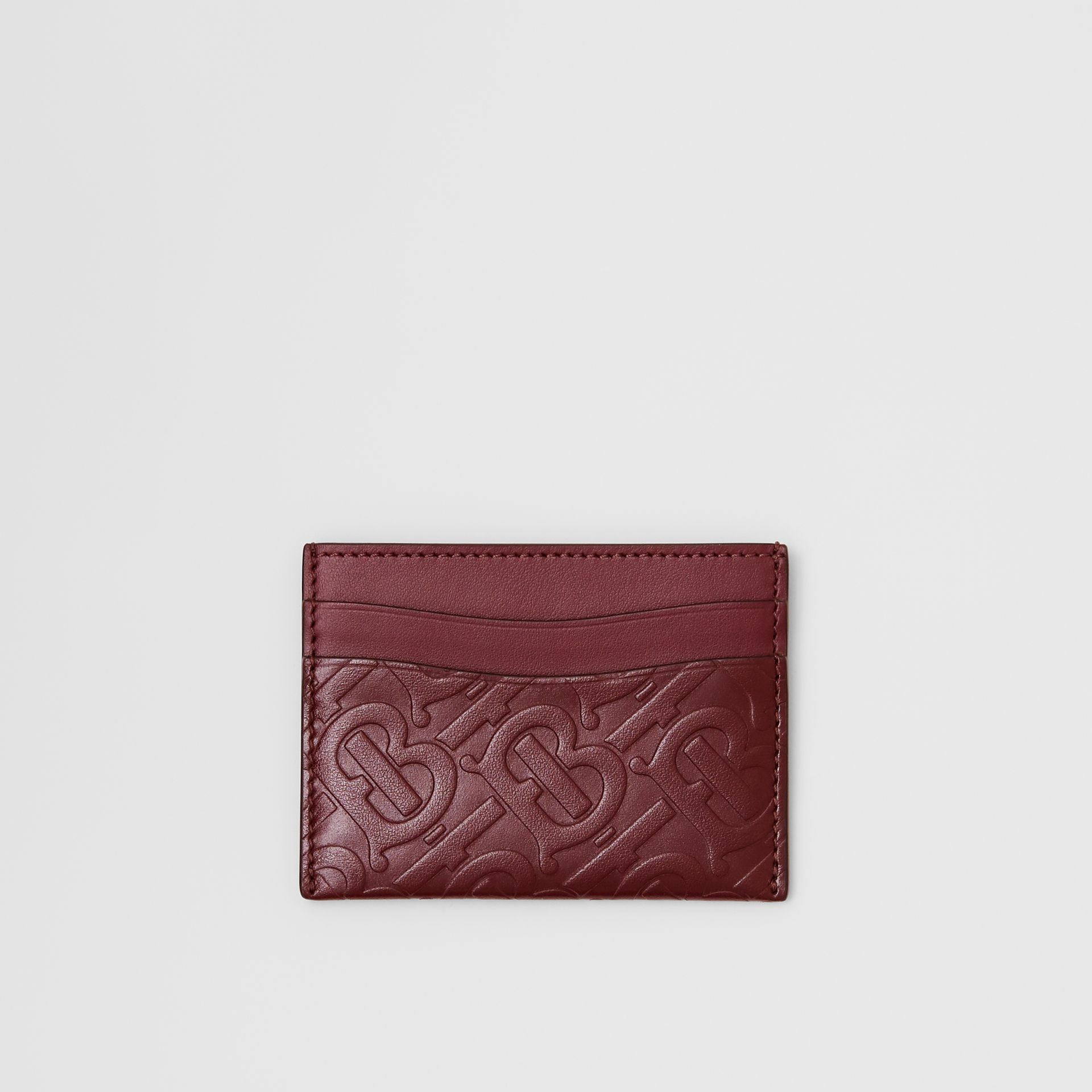 Monogram Leather Card Case in Oxblood - Women | Burberry United Kingdom - gallery image 0