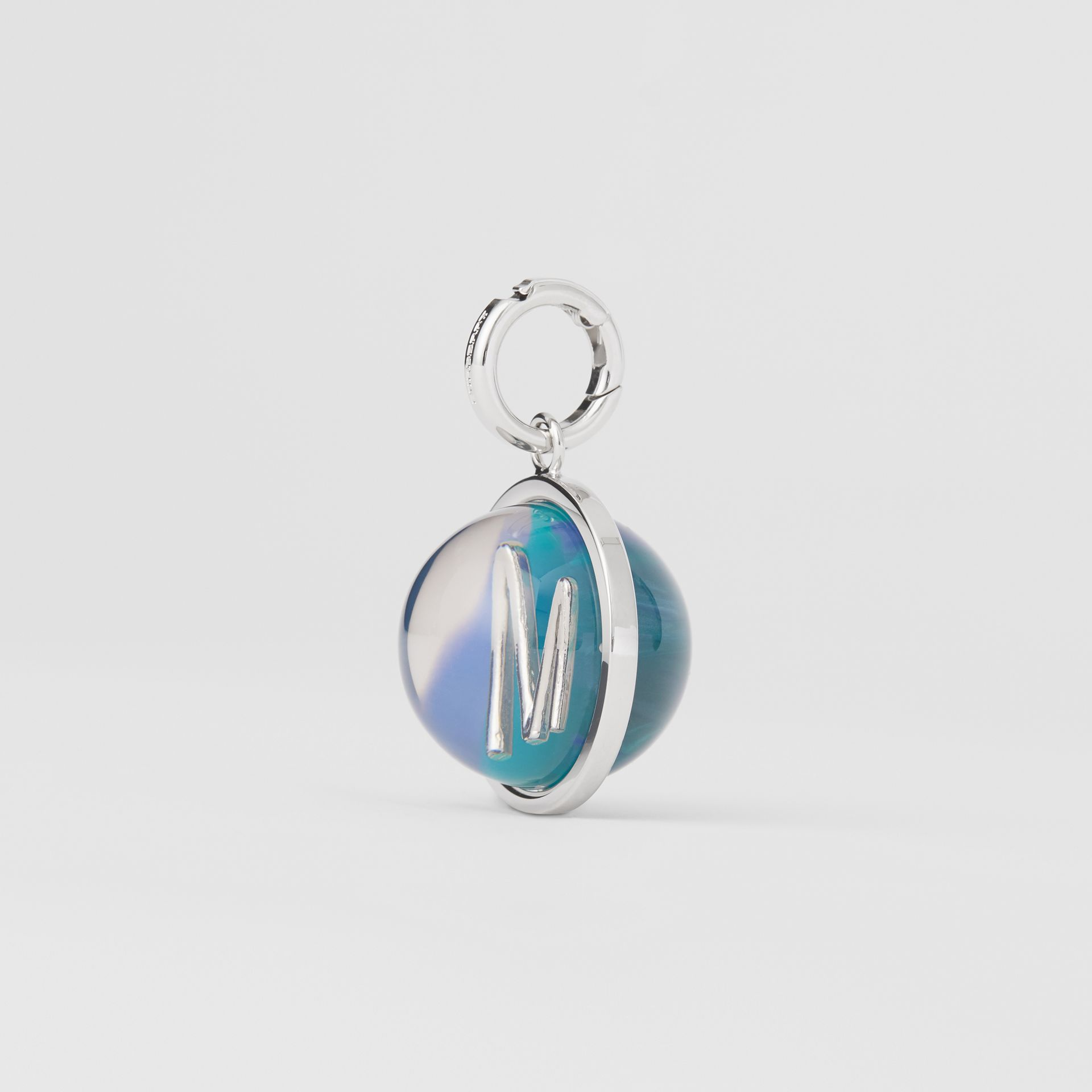 Marbled Resin 'M' Alphabet Charm in Palladio/ocean Blu - Women | Burberry - gallery image 4