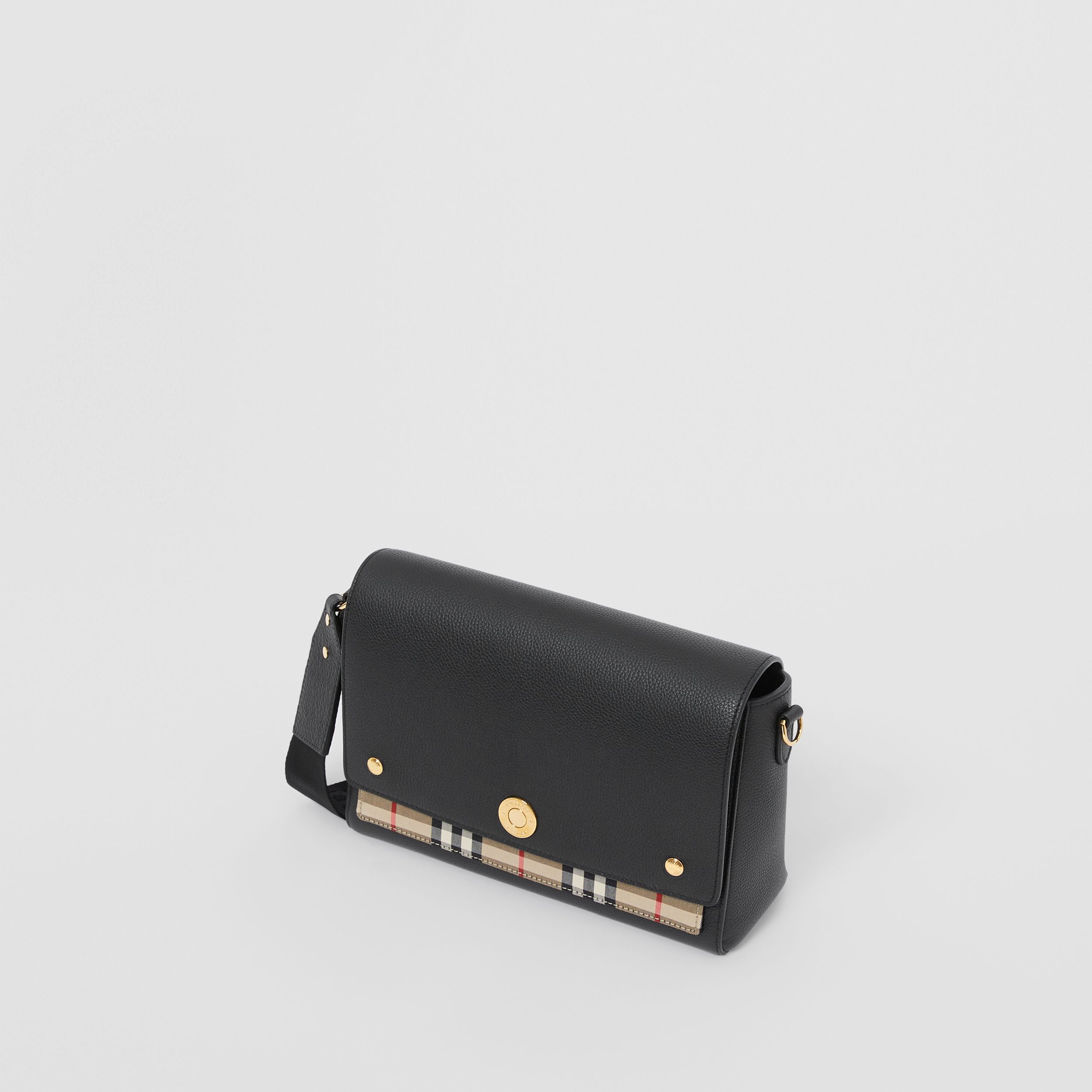 Leather and Vintage Check Note Crossbody Bag in Black - Women | Burberry - 4