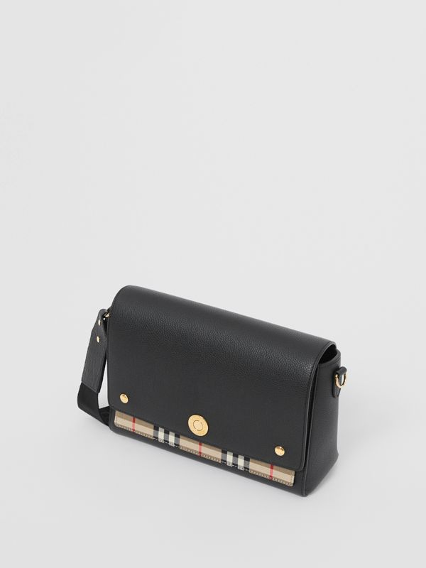 Leather and Vintage Check Note Crossbody Bag in Black - Women | Burberry United Kingdom - cell image 3