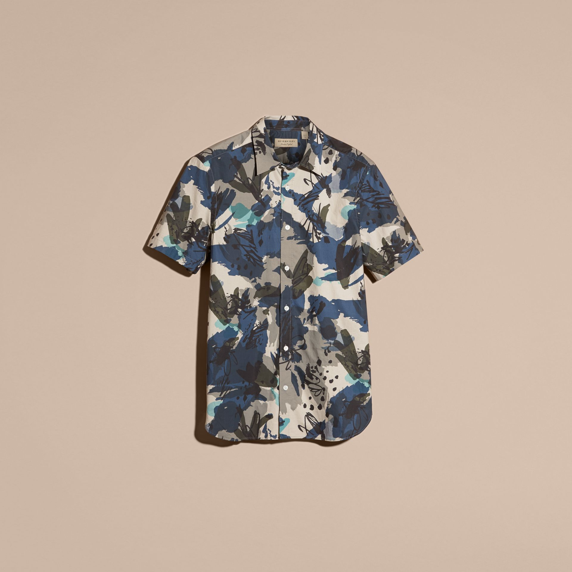 Bright navy Short-sleeved Abstract Print Cotton Poplin Shirt - gallery image 4