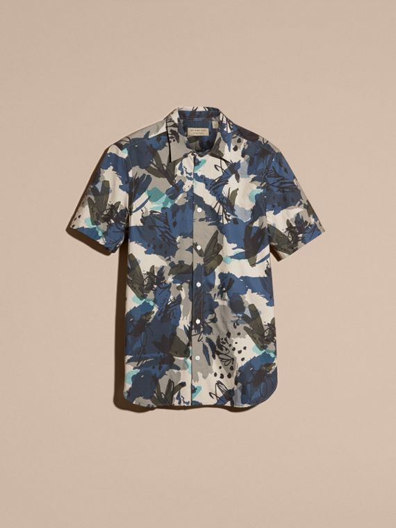 Bright navy Short-sleeved Abstract Print Cotton Poplin Shirt - cell image 3