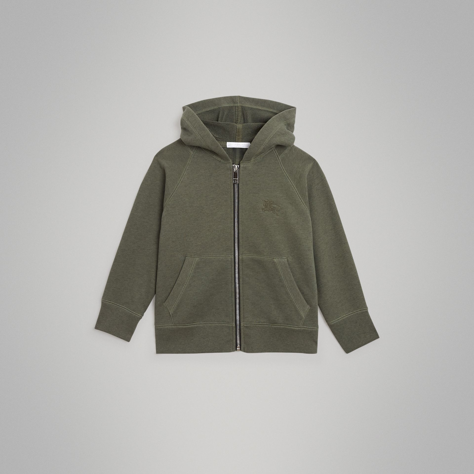 Cotton Jersey Hooded Top in Olive Melange | Burberry - gallery image 0