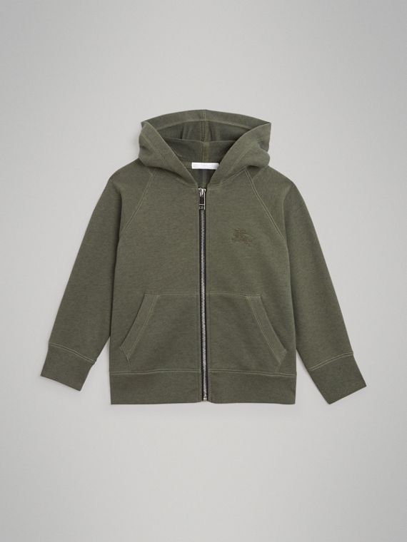 Cotton Jersey Hooded Top in Olive Melange
