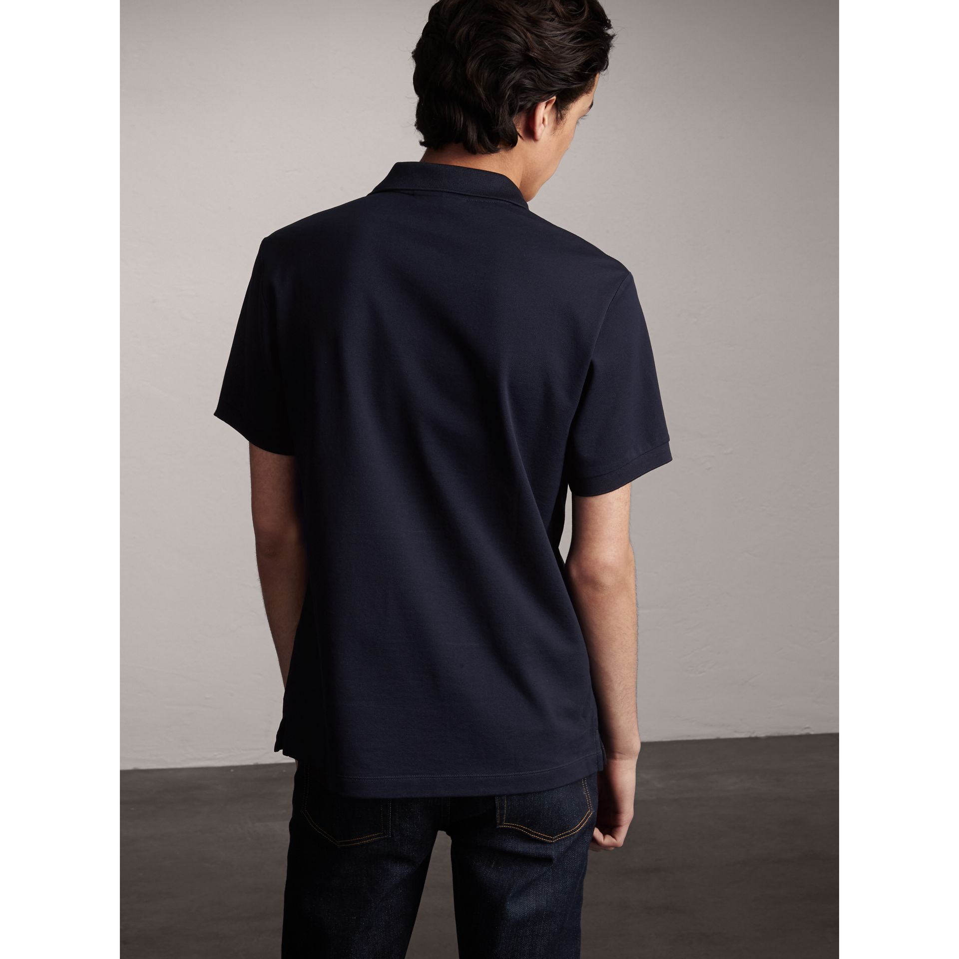 Striped Placket Cotton Piqué Polo Shirt in Navy - Men | Burberry Canada - gallery image 3