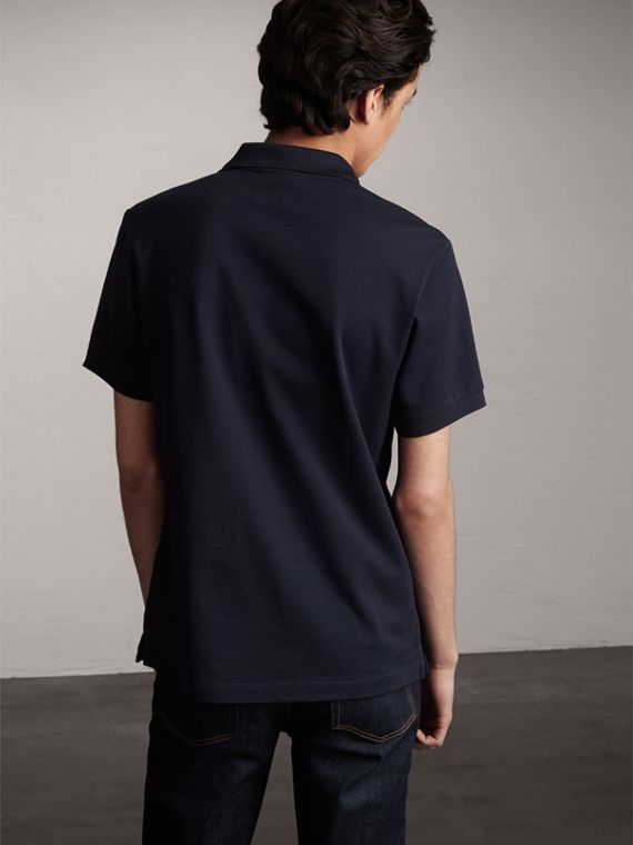 Striped Placket Cotton Piqué Polo Shirt in Navy - Men | Burberry - cell image 2