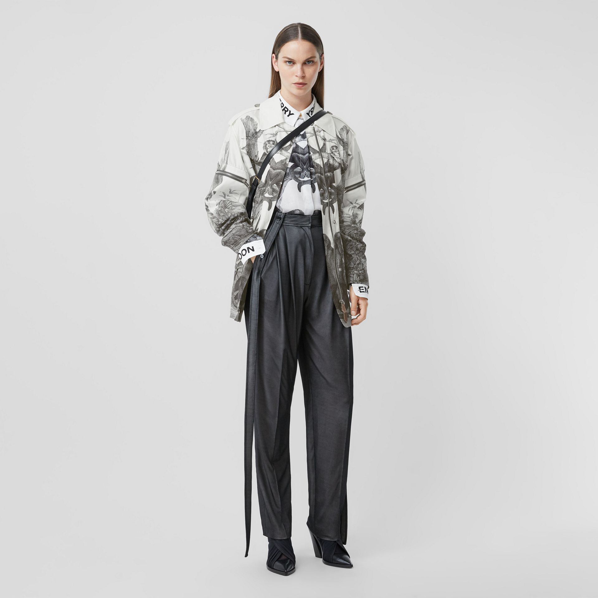 Monkey Print Silk and Cotton Gabardine Field Jacket in Monochrome - Women | Burberry - gallery image 0