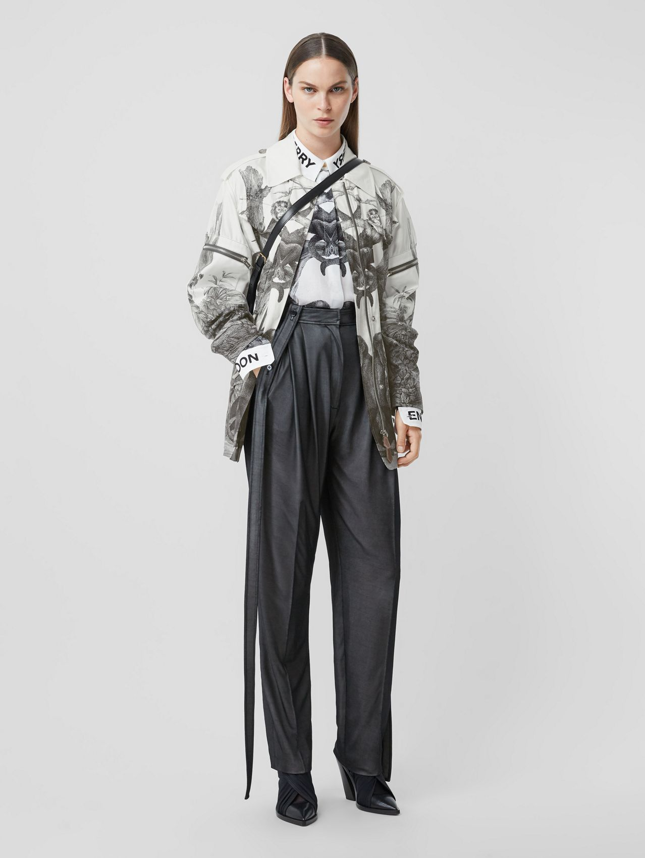Monkey Print Silk and Cotton Gabardine Field Jacket in Monochrome