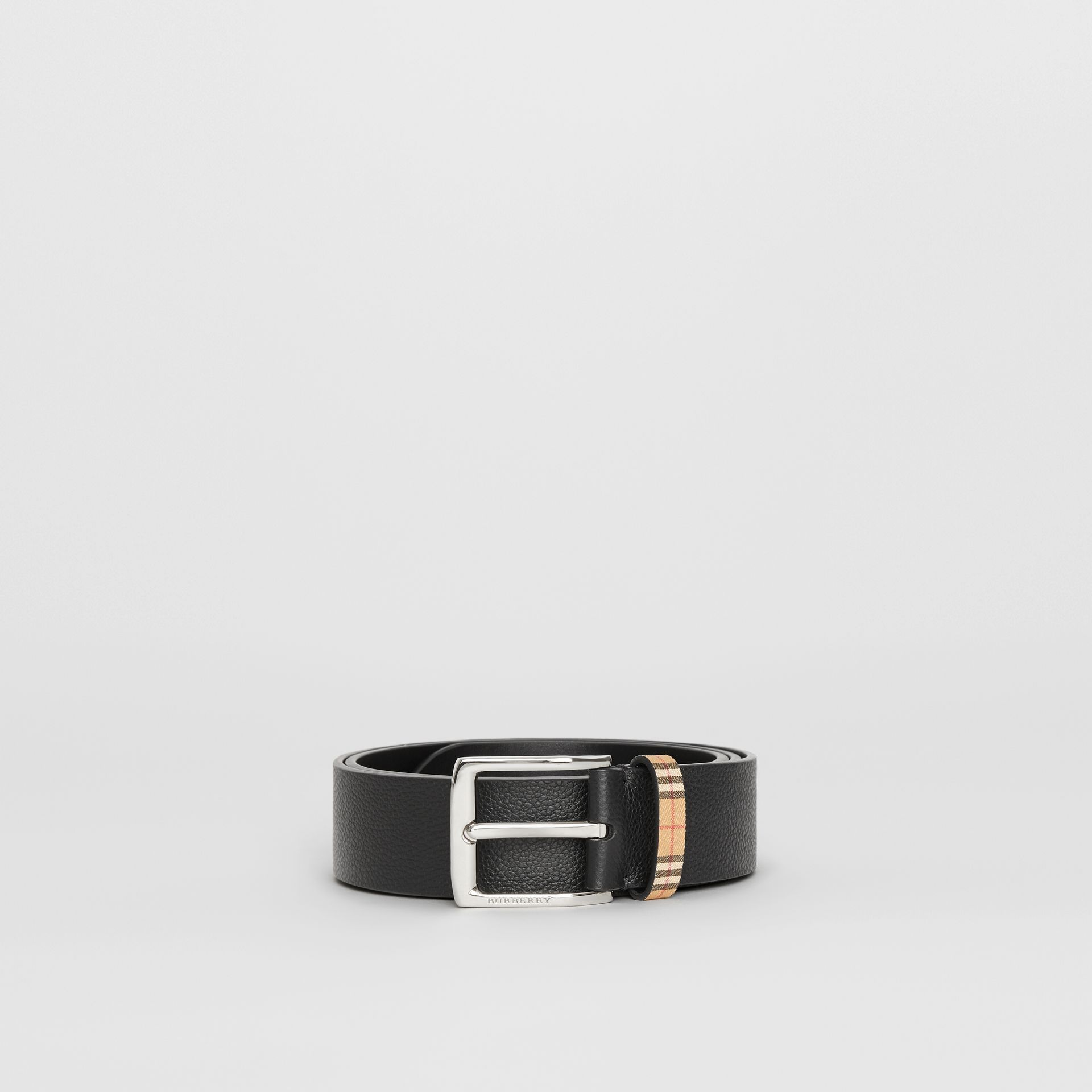 Check Detail Grainy Leather Belt in Black - Men | Burberry United States - gallery image 3
