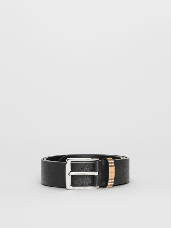 Check Detail Grainy Leather Belt in Black - Men | Burberry - cell image 3